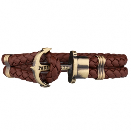 Paul Hewitt Brown Leather Anchor Bracelet