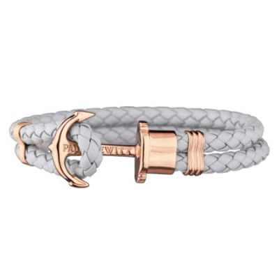 Paul Hewitt Rose Gold Anchor Bracelet (Grey Leather)