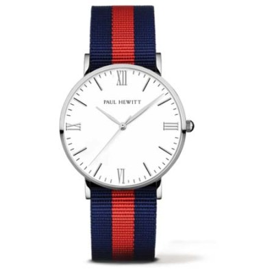 Paul Hewitt Silver Line Nato Watch (Blue-Red)