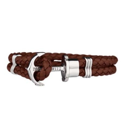 Paul Hewitt Silver Anchor Bracelet (Brown Leather)